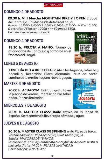 actividades fiestas agosto 2019