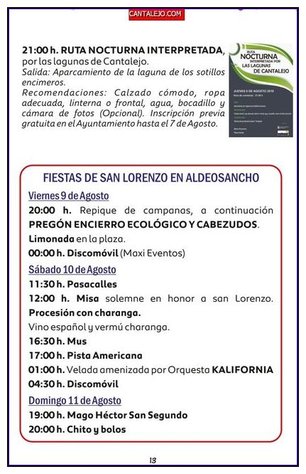 actividades fiestas agosto 2019 Aldeonsancho